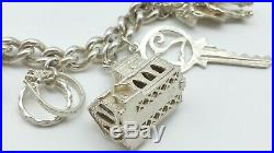 Heavy Vintage Sterling Silver Charm Bracelet & Big Unique Charms Including NUVO