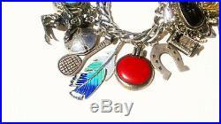 Heavy Vtg Estate Antique Sterling Silver 30 Rare Charms Charm Bracelet 7 1/4