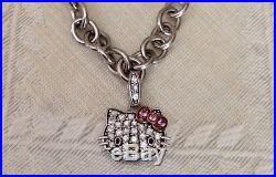 Hello Kitty Kimora Lee Simmons Sterling Silver Diamond Sapphire Charm Bracelet