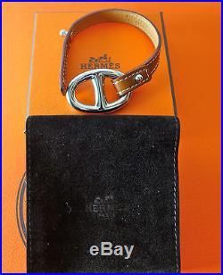 Hermes Silver Pall Charm Chaine D'ancre Granville Leather Bracelet New Nib $540