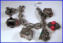 Huge 97.1 gms 800 Italian Silver Etruscan Charm Bracelet w Six Charms One Opens
