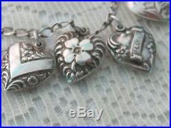 J7 Antique Estate Sterling Silver 10 Puffy Hearts Floral Charm Bracelet