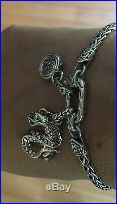 JOHN HARDY NAGA DRAGON PINK SAPPHIRE Charm BRACELET SILVER AND 18k GOLD $495
