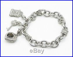 JUDITH RIPKA 925 Silver Vintage Smokey Quartz & CZ Love Charm Bracelet- B3362