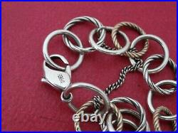 James Avery 14K Gold and 925 Sterling Silver Loops Charm Bracelet 8Long