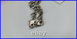 James Avery 7 Sterling Silver Scrolled Heart Link Charm Bracelet with Box