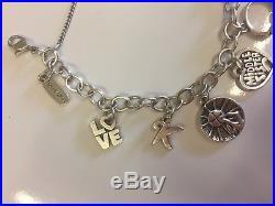 James Avery Forged Link Sterling Silver 8 Charm Bracelet