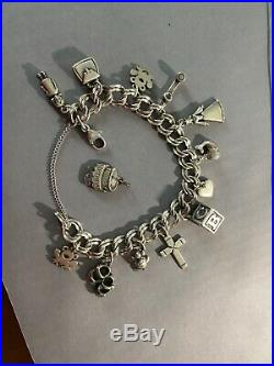 James Avery Medium Double Curb Charm Bracelet Sterling Silver with 13 Charms