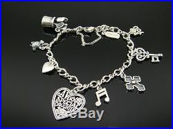 James Avery Medium Twist Charm Bracelet with 8 Charms in Sterling Silver
