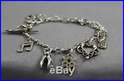 James Avery Sterling Silver 6 Charms Bracelet 6 1/2 With Box
