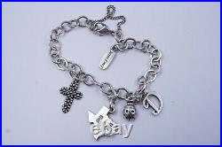 James Avery Sterling Silver Bracelet With 4-charms Cross, Ladybug, Letter D, Texas