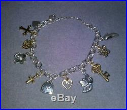 James Avery Sterling Silver Bracelet With SS & 14k Yellow Gold Charms