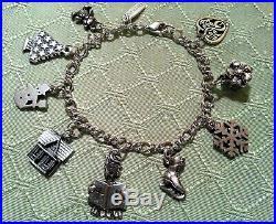 James Avery Sterling Silver Charm Bracelet & 9 Christmas Charms, Rare & Retired