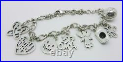 James Avery Sterling Silver Charm Bracelet With 8 Charms Lb-c1148
