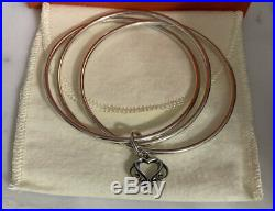 James Avery Sterling Silver Hammered Linked Bangle Bracelet 8 WithOrnamentCharm