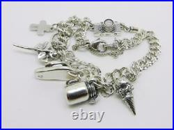 James Avery Sterling Silver Light Double Curb Bracelet With 7 Charms Lb-c1289