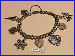 James Avery Sterling Silver Retired Heart Charm Bracelet With 8 Charms 8 1/2 L