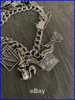 James Avery Vintage Silver Charm Bracelet Texas Rainbow Heart Hand Piano Travel