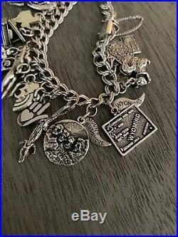 James Avery Vintage Silver Charms + Bracelet Texas Rainbow Heart Hand Piano