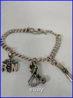 James Avery sterling Silver 925 nurse pin diploma stethoscope Charms Bracelet