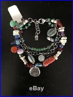 Jes MaHarry Beaded Gemstone Sterling Silver Horse Charm Bracelet Brave Ret $590