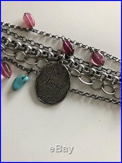 Jes MaHarry Signed Sweet Fortitude Charm Bracelet Sterling Silver
