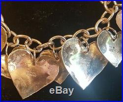 Joan SLIFKA stamped sterling silver heart charm bracelet