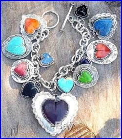 Joan Slifka Sterling Silver gemstone Joanie Charm Bracelet NOS