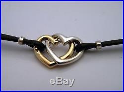 John Hardy Bamboo Silver & Gold Overlap Heart Charm Bracelet Black Leather NWT