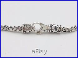 John Hardy Sterling Silver Heart Charm 3mm Weave Knot Chain 7' Inch Bracelet