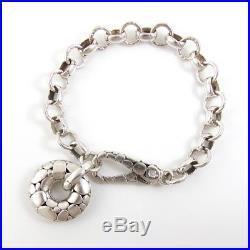 John Hardy Sterling Silver Kali Heavy Rolo Link Circle Charm Bracelet 8 QXD23