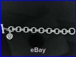 Judith Ripka 925 Sterling Silver CZ Thailand Citrine Heart Toggle Charm Bracelet