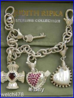 Judith Ripka Key To My Heart Sterling Charm Bracelet (4) Charms Arrow Thru Heart