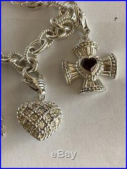 Judith Ripka Sterling Silver 5 Charm Bracelet with Garnet Cross Ruby Heart CZ Key