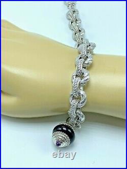 Judith Ripka Sterling Silver 925 Black Onyx Amethyst Charm Link Bracelet Signed