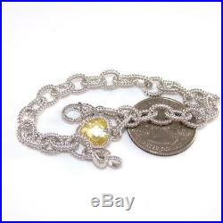 Judith Ripka Sterling Silver Canary Yellow Heart Love Charm Rolo Bracelet 7.25
