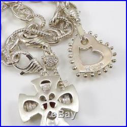 Judith Ripka Sterling Silver Multi Charm Cross Heart Key Bracelet 7.25 LFE3