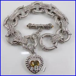 Judith Ripka Sterling Silver Yellow Citrine Heart Charm Bracelet 7 LFE3