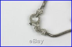Judith Ripka Sterling Silver and CZ Snake Chain Style Slide Charm Bracelet