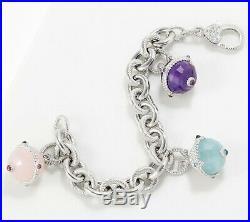 Judith Ripka Verona Sterling Silver Multi Gemstone 8 Charm Bracelet Qvc $461