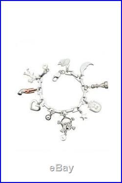 Karen Walker Charm Bracelet 925SS w 9ct Rose Gold & BLACK DIAMOND charm. RARE