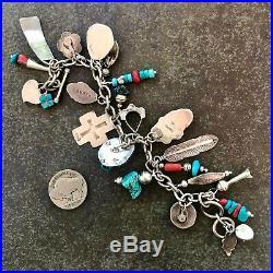 LOADED Turquoise Revival 23 Charm Bracelet, several SIGNED, 7-7 1/2