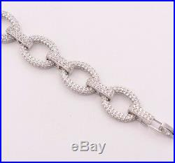 Ladies Diamonique CZ Oval Rolo Charm Bracelet Real Sterling Silver 925 7 AAA
