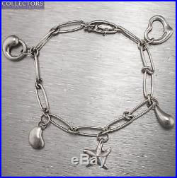 Ladies Tiffany & Co. 925 Sterling Silver Elsa Peretti 5 Charm Bracelet