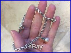 Lagos 18k Yellow Gold Sterling Silver Fleur De Lis Pearl Charm Bracelet