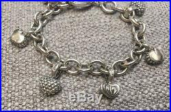 Lagos Caviar Heart Charm Toggle Cable Chain Sterling Silver Bracelet 7.5