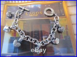 Lagos Caviar Multi 3D Heart Charm Toggle Cable Chain Sterling Silver Bracelet