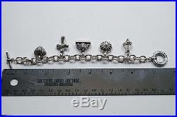 Lagos Caviar Sterling Silver/ 18k Charm Bracelet With 5 Charms 63.8 Grams A455