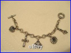 Lagos Charm Bracelet 925 Sterling Silver Gold Accents Cross Flower Charm 7.5 in