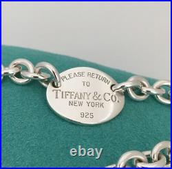 Large 8.5 Please Return To Tiffany & Co Sterling Silver Oval Tag Charm Bracelet